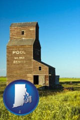 rhode-island map icon and an old grain elevator